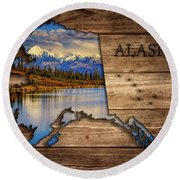 Alaska Map Collage Round Beach Towel