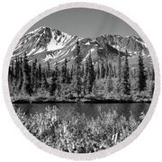 Alaska Mountains Round Beach Towel by Zawhaus Photography