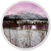 Alaska Range Pink Sky Round Beach Towel
