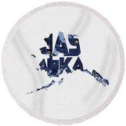 Alaska Typographic Map Flag Round Beach Towel