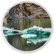 Alaskan Icebergs Round Beach Towel