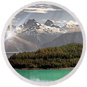 Alaskan Mountain Reflection Round Beach Towel