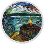 Alaskan Orthodox Church Round Beach Towel