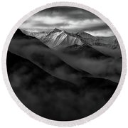 Round Beach Towel featuring the photograph Alaskan Peak In The Shadows by Rick Berk
