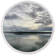 Alaskan Sunrise Round Beach Towel