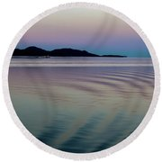 Alaskan Sunset At Sea Round Beach Towel
