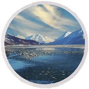 Alaskan Winter Landscape Round Beach Towel