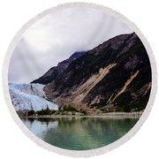 Alaska's Eroding Blue Glacier Round Beach Towel
