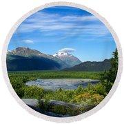 Alaska's Exit Glacier Valley Round Beach Towel by Jennifer White