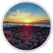 Round Beach Towel featuring the photograph Alassio Sunset by Karen Lewis