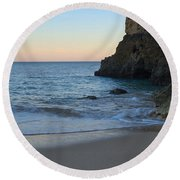Albandeira Beach Welcoming Twilight 2 Round Beach Towel