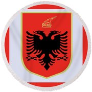 Round Beach Towel featuring the drawing Albania Coat Of Arms by Movie Poster Prints