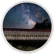 Albany Covered Bridge Under The Milky Way Round Beach Towel