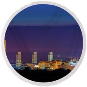 Albany Skyline Twilight Round Beach Towel by Neil Shapiro