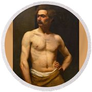 Albert Edelfelt Male Model Round Beach Towel