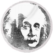 Albert Einstein Bw  Round Beach Towel
