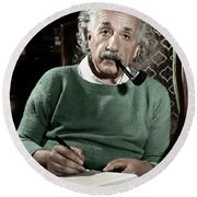 Albert Einstein - To License For Professional Use Visit Granger.com Round Beach Towel