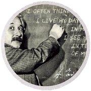 Albert Einstein, Physicist Who Loved Music Round Beach Towel