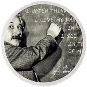 Albert Einstein, Physicist Who Loved Music Round Beach Towel