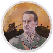 Round Beach Towel featuring the painting Albert Jaka Vc by Ray Agius