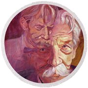 Albert Schweitzer Portrait Round Beach Towel
