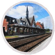Albert Train Station, France Round Beach Towel by Therese Alcorn