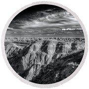 Round Beach Towel featuring the photograph Alberta Badlands by Wayne Sherriff