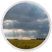 Alberta Wheat Field Round Beach Towel by Stuart Turnbull