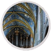 Albi Cathedral Nave Round Beach Towel