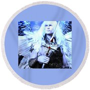 Albino Angel 2 Round Beach Towel by Suzanne Silvir