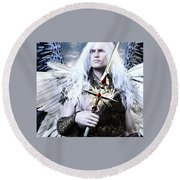 Albino Angel Round Beach Towel by Suzanne Silvir