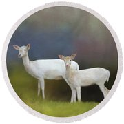 Albino Deer Round Beach Towel by Marion Johnson