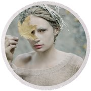 Albino In Forest. Prickle Tenderness Round Beach Towel