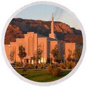 Albuquerque Lds Temple At Sunset 1 Round Beach Towel