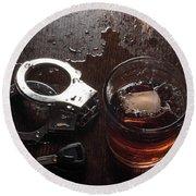 Alcohol Keys Handcuffs Round Beach Towel