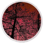 Alder Trees Against The Winter Sunrise Round Beach Towel