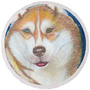 Round Beach Towel featuring the drawing Alek The Siberian Husky by Ania M Milo