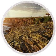 Round Beach Towel featuring the photograph Alentejo Cliffs by Carlos Caetano