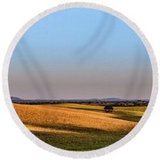 Round Beach Towel featuring the photograph Alentejo Fields by Marion McCristall