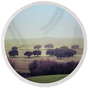 Alentejo In The Mist Round Beach Towel by Marion McCristall