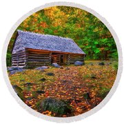 Alex Cole Cabin At Jim Bales Place, Roaring Fork Motor Trail In The Smoky Mountains Tennessee Round Beach Towel