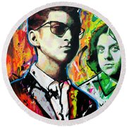 Round Beach Towel featuring the painting Alex Turner by Richard Day