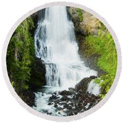 Round Beach Towel featuring the photograph Alexander Falls - 2 by Stephen Stookey