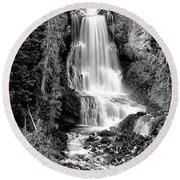 Round Beach Towel featuring the photograph Alexander Falls - Bw 1 by Stephen Stookey