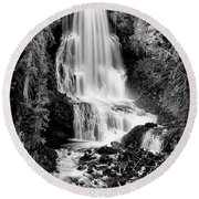 Round Beach Towel featuring the photograph Alexander Falls - Bw 2 by Stephen Stookey
