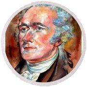 Alexander Hamilton Watercolor Round Beach Towel