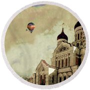 Alexander Nevsky Cathedral In Tallin, Estonia, My Memory. Round Beach Towel by Jeff Burgess