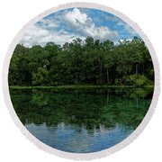 Round Beach Towel featuring the photograph Alexander Springs Pool by Paul Mashburn
