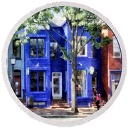Alexandria Va - Colorful Street Round Beach Towel