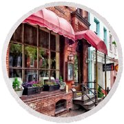 Alexandria Va - Red Awnings On King Street Round Beach Towel